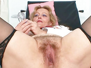 filthy mature lady toys her hairy bawdy cleft