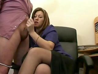 sexy older secretary jerks the ball cream from