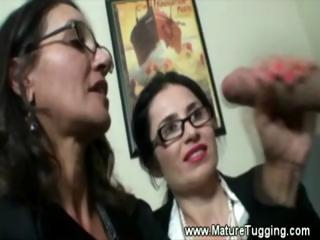 two mature office ladies receive sexy at work