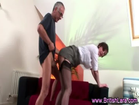 older guy fucks mature woman in suspenders and
