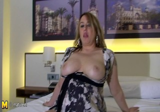 big titted older tattooed mom playing with herself