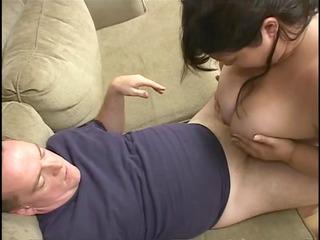 fat sweetheart in corset eats man meat then titty