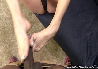 tory lane giving a foot massage to bbc