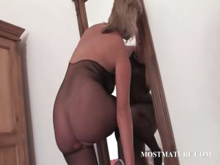 hot milf in hose riding sex-toy