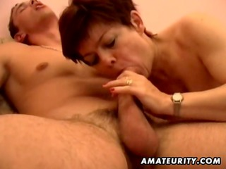 breasty amateur milf sucks and fucks with jizz