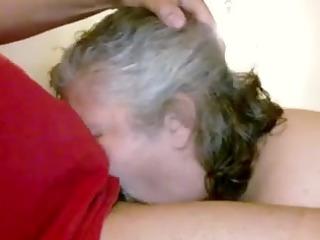 married older neighbor gags on my bbc - homemade