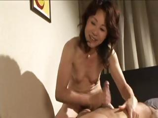 excited japanese milf gives him head and then