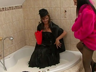 retro clothed milf bitches having fun in the