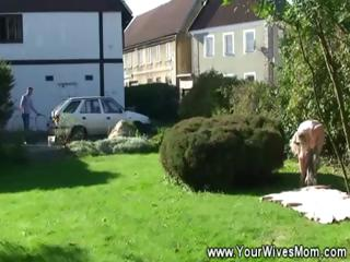 sunbathing granny blows chap in yard