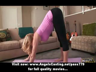 blonde milf does yoga and oral stimulation for