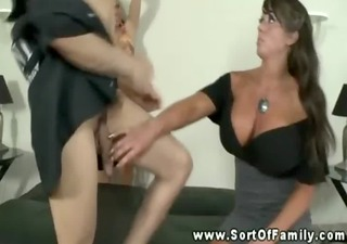 large titted mom shows daughter how to orally