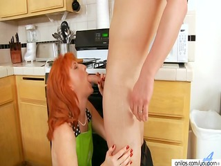 hawt redhead fucks hardcore in her kitchen