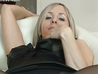 hawt blonde milf in hose uncovers her ass on sofa