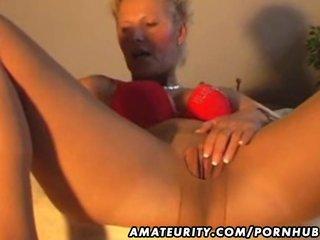 amateur milf masturbates, sucks and copulates