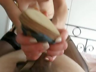 husband acquires a hot shoe job by wife and gives