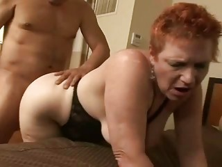 redhead granny getting her wet crack pounded on a