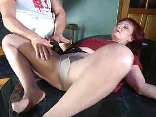 slutty mommy with nylon tights stuffed under