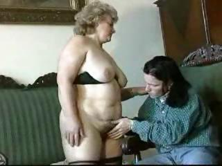fat, golden-haired granny gets licked, blows, and