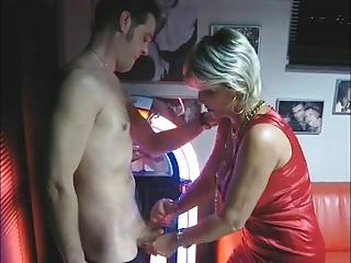 mature makes handjob and oral-stimulation at the