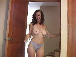 heavy chested redhead momma with glasses shows