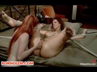 lesbian mature slave fisting in bondage