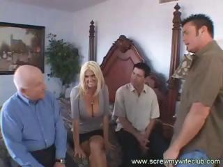 hot blonde wife, with big boobs, gets drilled