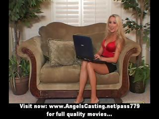 blond milf with laptop toying snatch and