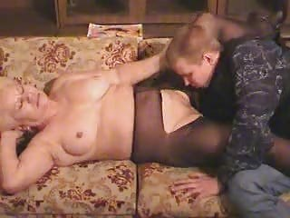 old blond granny in pantyhose sucks and fucks the