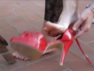brunette wife acquires her feet licked clean each