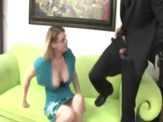 breasty older with glasses waxes her boytoys
