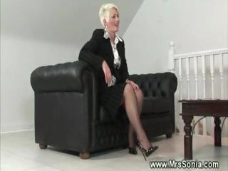 aged lady shows her wicked lingerie