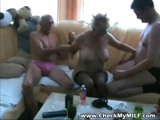 old blond dilettante granny is in a threesome