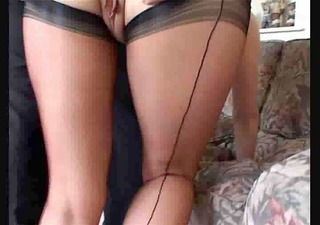 indecent mamma in nylons acquires her muff