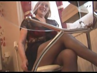 curly granny in pantyhose striptease