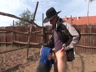 granny wants trio young cowboy to ride her