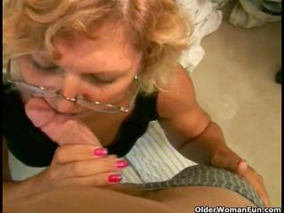 plump granny receives a facial