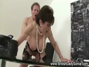 mature stocking brit sonia suck and blowjob