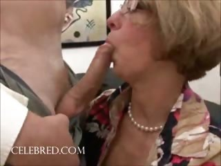 enjoyment scene with aged hottie in glasses