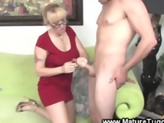 old mature with glasses gives tubjob