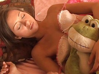 sleeping brunette legal age teenager in teasing