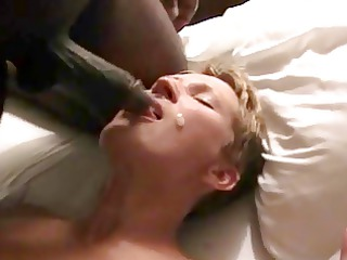 bbc &; bwc give blond milf a double facial.