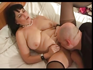 chubby older in stockings fucks with shaved stud