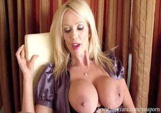 breasty blonde secretary teasing your jock and