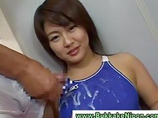 japanese babe gets bukkake in groupsex cum