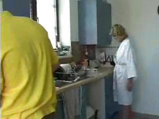 blonde granny in glasses fucks lad