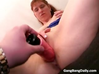 cute redhead bitch with her golden-haired milf