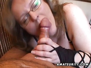 busty amateur wife cook jerking and oral with cum