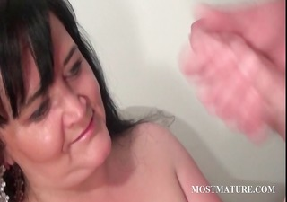 naughty cougar blows dick in close-up