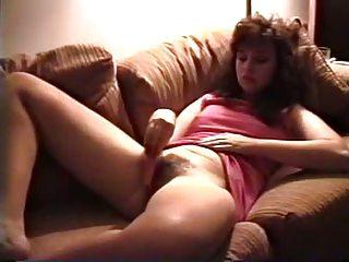 vintage milf masturbates unshaved pussy with