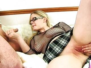 bulky blonde mother i with glasses gets slammed